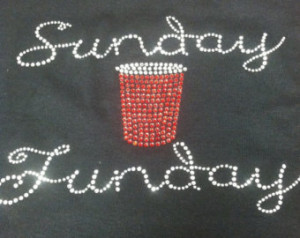 SALE Sunday Funday red solo cup fun ny rhinestone bling womens shirt ...