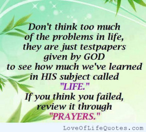 Don't think too much about life problems