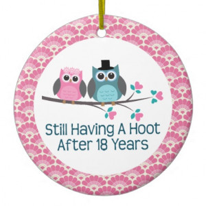 18th Anniversary Owl Wedding Anniversaries Gift Double-Sided Ceramic ...