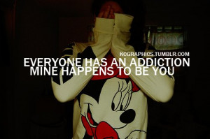 addiction, girl, kcgraphics, minnie mouse, quote, text