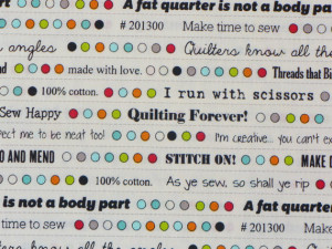 Quilters and Seamstress Quotes Fabric / Bobbins & Bits 43025-11 Fresh ...