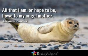All that I am, or hope to be, I owe to my angel mother.