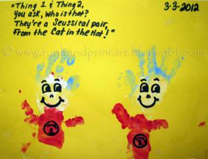 Handprint & Arm Print Thing 1 & Thing 2 {Dr. Seuss}