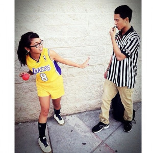 Basketball player and ref