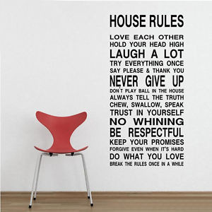 Funny House Rules DIY Removable Art Vinyl Quote Wall Sticker Decal ...