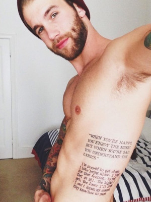 Quotes Tattoo on Side for Men
