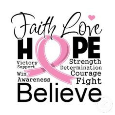 cancer journey quotes | Breast Cancer Typographic Faith Love Hope by ...