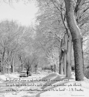 snowy street with j.b. priestley quote