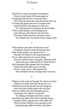 To Autumn - John Keats (1795-1821) One of my favorite poems. You have ...