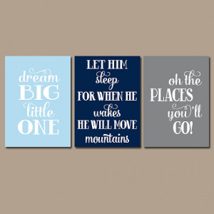BOY Nursery Quote Boy Nursery Wall Art Quote Wall Art Dream Big Let ...