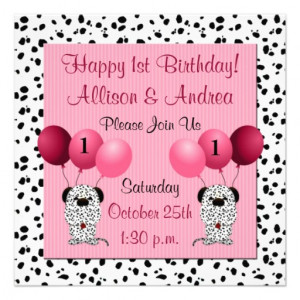 Twins 1st Birthday Party Invitation Pink