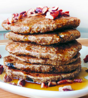 Oatmeal Banana Pecan Blueberry Pancakes