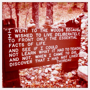 ... this was the site of Thoreau's cabin at Walden Pond- love this quote