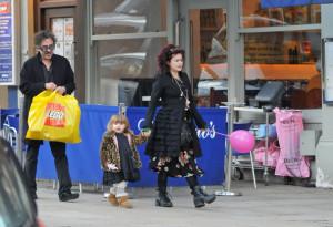 Helena Bonham Carter, her fiance Tim Burton with their children Billy ...