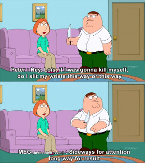 ... Peter Learn The Proper Way To Use a Knife On Himself On Family Guy