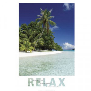 Relax (Beach, Quote) Art Poster Print - 24x36
