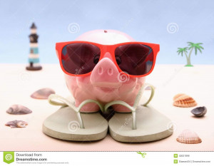 Stock Photo: Funny Piggy bank with sunglasses, holiday background