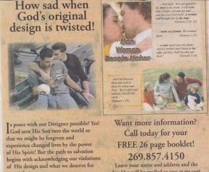 Michigan paper runs another anti-gay advertisement