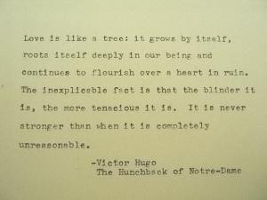 VICTOR HUGO Love Quote Victor Hugo Hand Typed Typewriter Quote Typed ...