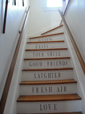 quotestaircase 225x300 Stenciled Staircases