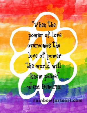 8X10 art print - Jimi Hendrix Power of Love quote Peace Flower