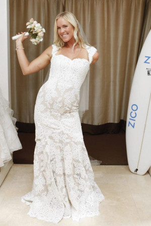 Bethany Hamilton trying on wedding gowns. Photo courtesy of Zico