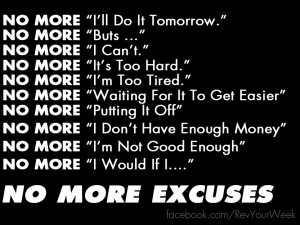 No More Excuses List