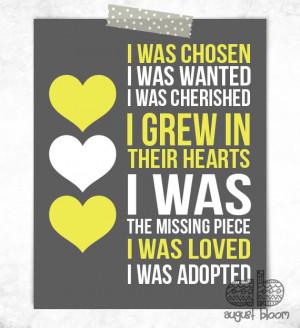 Adoption Print - I Was Chosen Print - Adoptive Mother Gift - Adoption ...