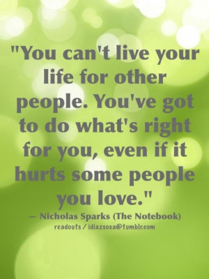 quote about you cant live your life for other people: Quote About You ...