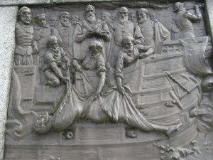 Sir Francis Drake buried at sea. One of 4 bronze relief plaques on the ...