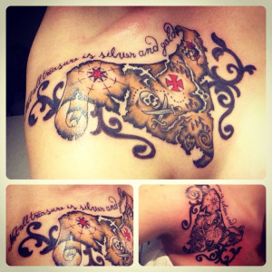 new tattoo! Treasure map, pirates of the Caribbean jack sparrow quote ...