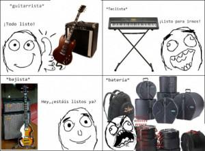 Cuando los músicos llevan sus instrumentos musicales