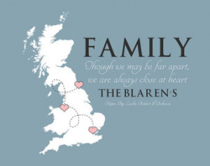 Family Quote, Any Map, UK, England - 8x10 Personalized Gift for ...