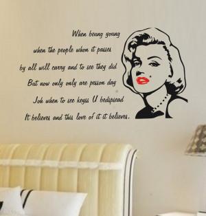 wall-sticker-quotes-fashion-marilyn-monroe-red-lips-English-wall ...