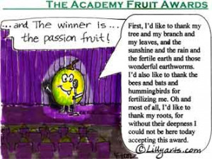 cartoon passion fruit at the academy fruit awards saying thank you