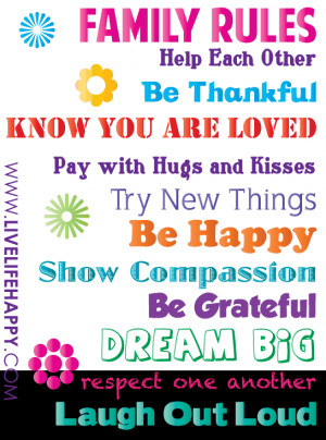 family rules help each other be thankful know you are loved pay with ...