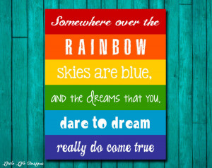 Rainbow Quotes For Kids Rainbow wall art. childrens