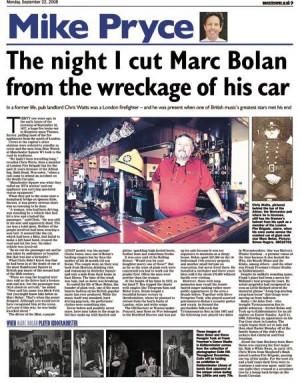 Marc Bolan Car Crash