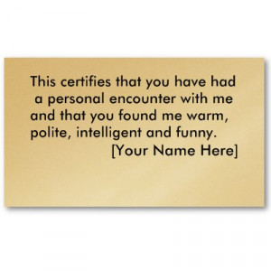 Funny Business Cards Sayings