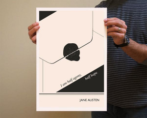 Book Quote Jane Austen Poster Illustration by Evan Robertson