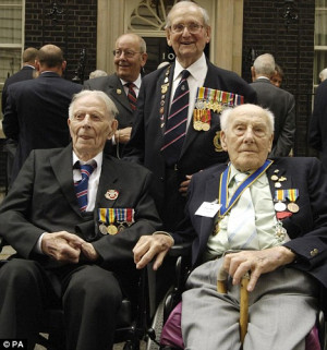 With Harry Patch and William Stine, fellow war veterans, in 2006