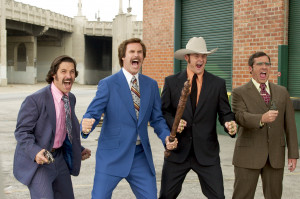 Left to right) Brian Fantana (Paul Rudd), Ron Burgundy (Will Ferrell ...