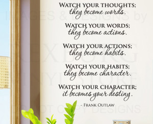 ... -Sticker-Quote-Vinyl-Lettering-Watch-Your-Thoughts-Frank-Outlaw-M06
