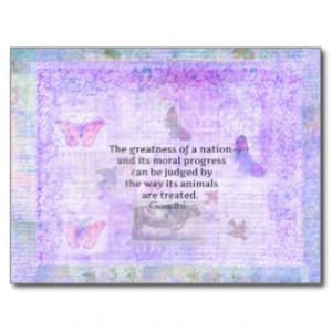Ghandi quote about animal cruelty postcard