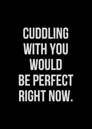 cuddling with you would be perfect right now