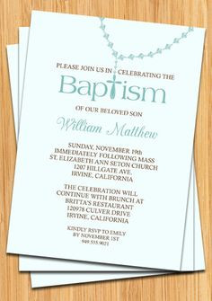 Baby Boy Baptism Invitation by eventfulcards on Etsy, $14.99