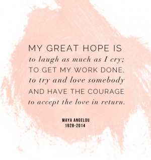 Maya Angelou quote: My great hope