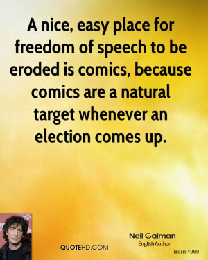 nice, easy place for freedom of speech to be eroded is comics ...