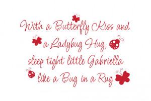Kiss Ladybug Hug Sleep Tight like Bug in a Rug Vinyl Wall Decal Quote ...