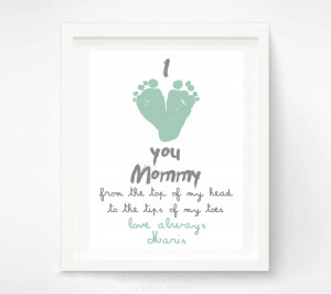 ... Baby footprint Art - Mint Gift for Grandmother - Gift for New Grandma